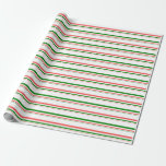 [ Thumbnail: Fun Red, White, Green Colored Christmas-Inspired Wrapping Paper ]