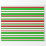 [ Thumbnail: Fun Red, White, Green Colored Christmas Inspired Wrapping Paper ]
