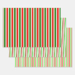 [ Thumbnail: Fun Red, White, Green Colored Christmas-Inspired Wrapping Paper Sheets ]