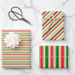 [ Thumbnail: Fun Red, White, Green Colored Christmas Inspired Wrapping Paper Sheets ]