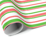[ Thumbnail: Fun Red, White, Green Lined/Striped Pattern Wrapping Paper ]