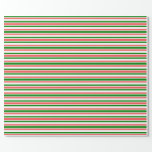[ Thumbnail: Fun Red, White, Green Lines Pattern Wrapping Paper ]