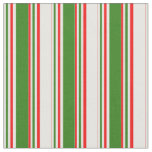 [ Thumbnail: Fun Red, White, Green Striped Pattern Fabric ]