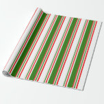 [ Thumbnail: Fun Red, White, Green Striped Pattern Wrapping Paper ]