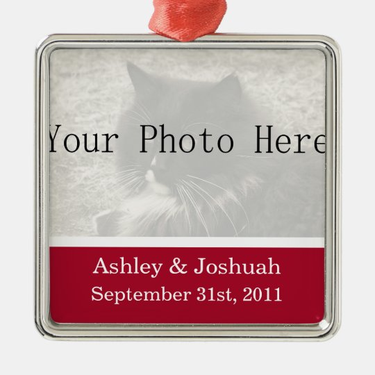 Fun Red Your Photo Wedding Names Ornament
