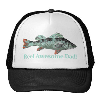 Fun Reel Awesome Dad Fishing Perch Trucker Hat