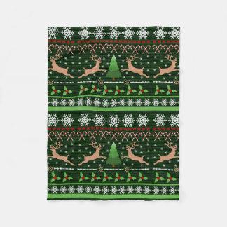Fun Reindeer Christmas Sweater Fleece Blanket
