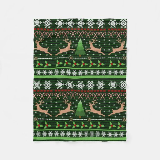 Reindeer Sweater Fleece Blanket
