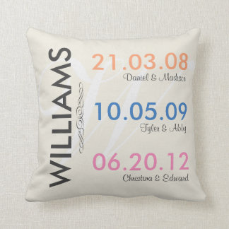 Fun Remember Your Childrens Wedding Dates Throw Pillows