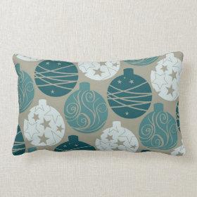 Fun Retro Blue Gray Christmas Ornaments Design Throw Pillows