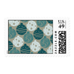 Fun Retro Blue Gray Christmas Ornaments Design Postage Stamp