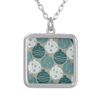 Fun Retro Blue Gray Christmas Ornaments Design Silver Plated Necklace
