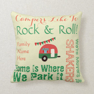 Fun Retro Camper Word Art Pillow Personalized