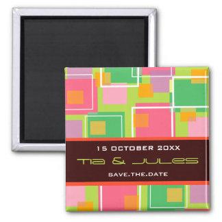 Fun Retro Cubes   01 *   Save Date Date Magnet