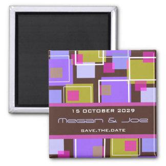 Fun Retro Cubes   02 *   Save Date Date Magnet