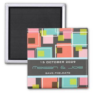 Fun Retro Cubes   03 *   Save Date Date Magnet