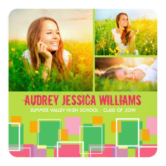 Fun Retro Cubes Graduation Photo Party Invite