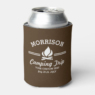 Fun Retro Custom Camping Trip Campfire Can Cooler