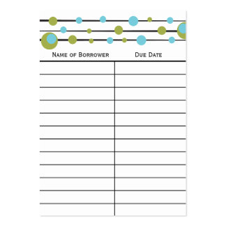 Fun Retro Dot Book Insert Card. Large Business Cards (Pack Of 100)