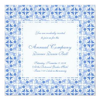 Fun Retro Fifties Blue and White Geometric Pattern Personalized Invitations