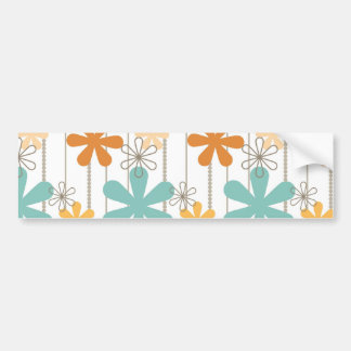 Fun Retro Floral Pattern Orange Blue Wall Flowers Car Bumper Sticker