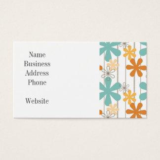 Fun Retro Floral Pattern Orange Blue Wall Flowers Business Card