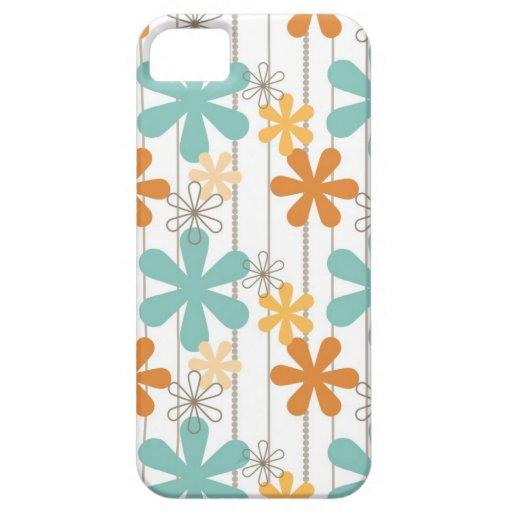 Fun Retro Floral Pattern Orange Blue Wall Flowers iPhone 5 Case
