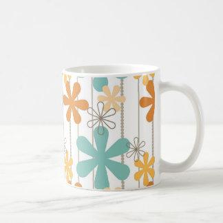 Fun Retro Floral Pattern Orange Blue Wall Flowers Coffee Mug