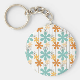 Fun Retro Floral Pattern Orange Blue Wall Flowers Keychain