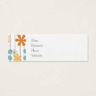 Fun Retro Floral Pattern Orange Blue Wall Flowers Mini Business Card