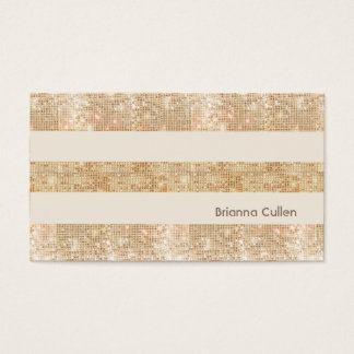 Fun Retro Gold FAUX Sequin Stripes Modern Business Card