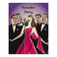 Karaoke party invitations announcements zazzle fun retro karaoke singing party social invitations stopboris Image collections