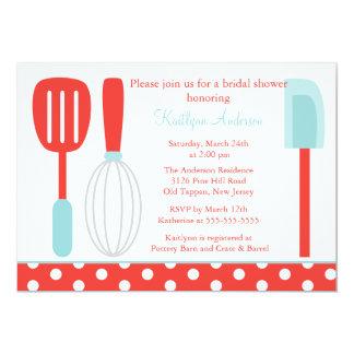 """Fun Retro Kitchen Bridal Shower Invitation 5"""" X 7"""" Invitation Card"""