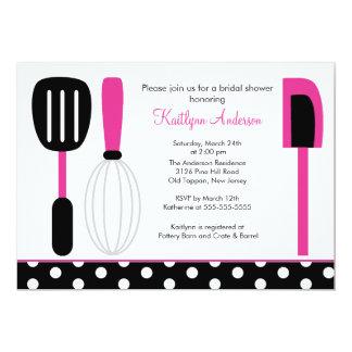 """Fun Retro Kitchen Bridal Shower Invitation Pink 5"""" X 7"""" Invitation Card"""