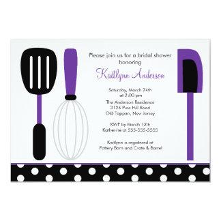 """Fun Retro Kitchen Bridal Shower Invitation Purple 5"""" X 7"""" Invitation Card"""