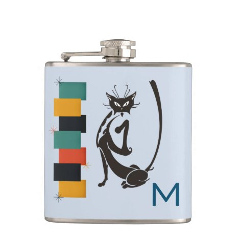 Fun Retro Kitty Monogram Mid Century Cat Flask