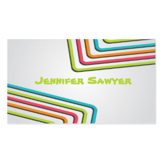 Fun Retro Lines - Style 1 Double-Sided Standard Business Cards (Pack Of 100)