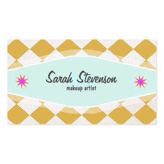 Fun Retro MakeupArtist Checkered Business Card