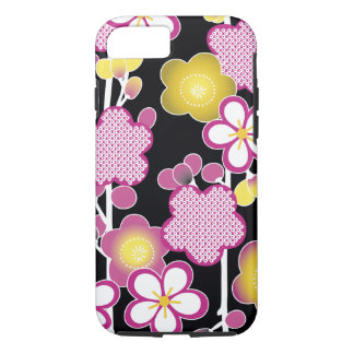 Fun Retro Pink and Yellow Flowers Floral Pattern iPhone 7 Case