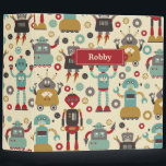 """Fun Retro Robots Illustrated Pattern (Cream) Binder<br><div class=""""desc"""">A bunch of happy,  smiling robot friends are the stars of this fun original Retro Robots pattern.  See my design process at www.instagram.com/arncyn</div>"""