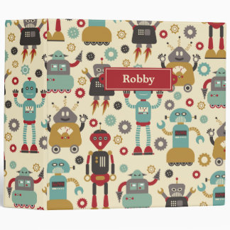 Fun Retro Robots Illustrated Pattern (Cream) Binder