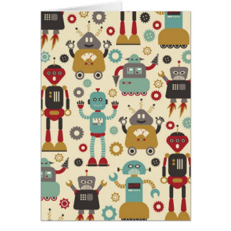 Fun Retro Robots Illustrated Pattern (Cream) Card