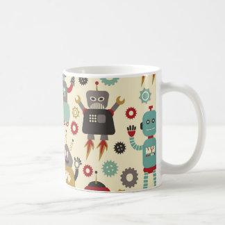 Fun Retro Robots Illustrated Pattern (Cream) Coffee Mug