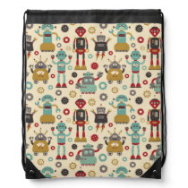 Fun Retro Robots Illustrated Pattern (Cream) Drawstring Backpack