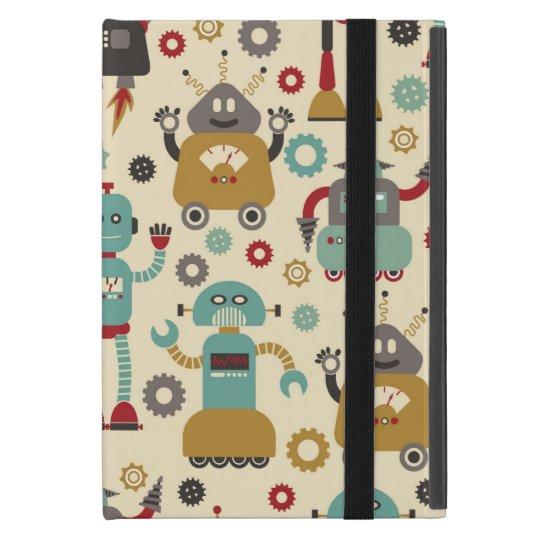 Fun Retro Robots Illustrated Pattern (Cream) iPad Mini Cover