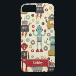 "Fun Retro Robots Illustrated Pattern (Cream) iPhone 8/7 Case<br><div class=""desc"">A bunch of happy,  smiling robot friends are the stars of this fun original Retro Robots pattern.  See my design process at www.instagram.com/arncyn</div>"