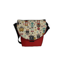 Fun Retro Robots Illustrated Pattern (Cream) Messenger Bag
