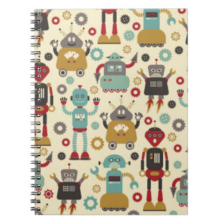 Fun Retro Robots Illustrated Pattern (Cream) Notebook