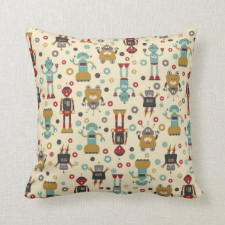 Fun Retro Robots Illustrated Pattern (Cream) Throw Pillow