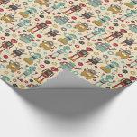 Fun Retro Robots Illustrated Pattern (cream) Wrapping Paper at Zazzle